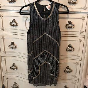 Parker Beaded Mini Dress Black Sz Small